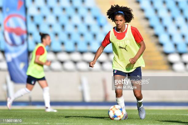 Sara Gama of Italy Women in action during a training session at Stadium Lille Metropole on June 17, 2019 in in Villeneuve d'Ascq near Lille, France.