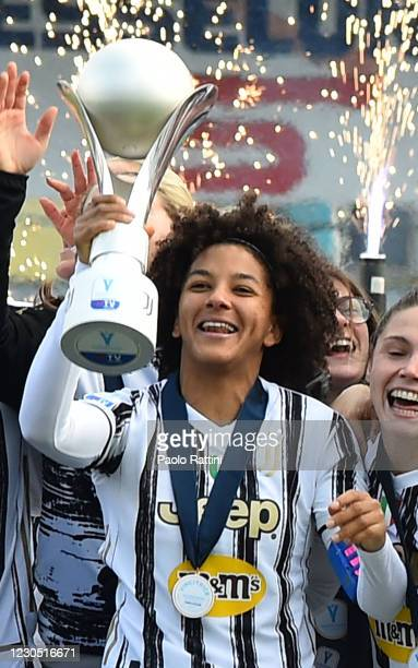 Sara Gama of Juventus celebrates winning the Cup during the Women's Super Cup Final match between Juventus and ACF Fiorentina at Stadio Comunale on...