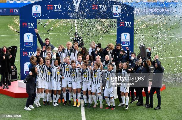Sara Gama of Juventus FC and Juventus FC Team celebrate their victory after the Women's Super Cup Final match between Juventus and ACF Fiorentina at...