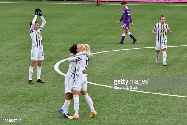 Sara Gama of Juventus FC and Juventus FC Team celebrates their victory after the Women's Super Cup Final match between Juventus and ACF Fiorentina at...