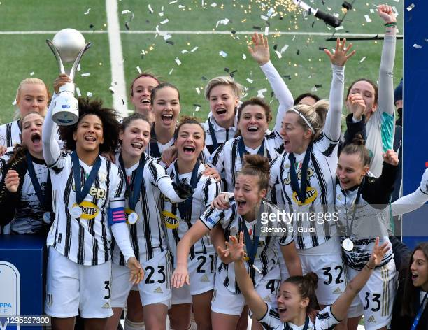 Sara Gama of Juventus FC and the Juventus FC Team celebrate their victory after the Women's Super Cup Final match between Juventus and ACF Fiorentina...