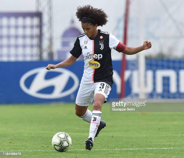 Sara Gama of Juventus in action during the Women Serie A match between AS Roma and Juventus at Stadio Tre Fontane on November 24 2019 in Rome Italy