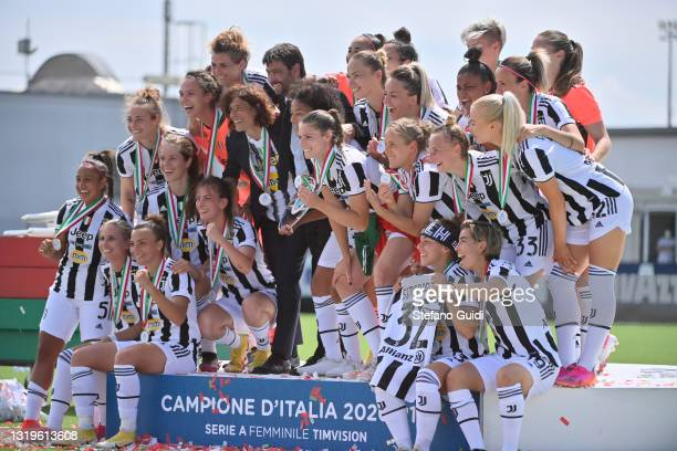 Sara Gama of Juventus, Rita Guarino Coach of Juventus and Andrea Agnelli celebrate victory after the Women Serie A match between Juventus and FC...