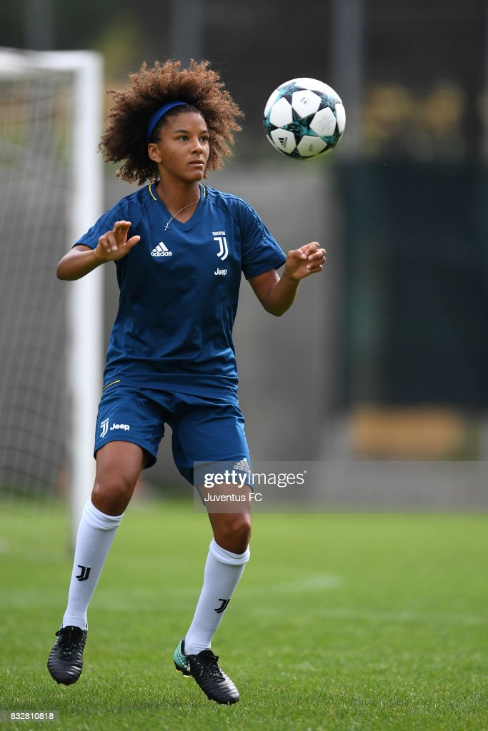 Sara Gama of Juventus Women during a training session on August 16, 2017 in Aymavilles near Aosta, Italy.