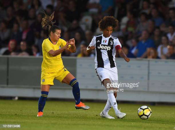 Sara Gama of Juventus Women is challenged by Erin Cuthbert of Chelsea Ladies during the PreSeason Friendly match between Chelsea Ladies and Juventus...