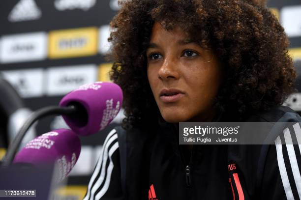 Sara Gama of Juventus Women takes part in a press conference prior to UEFA Women's Champions League match between Juventus Women and Barcelona Women...