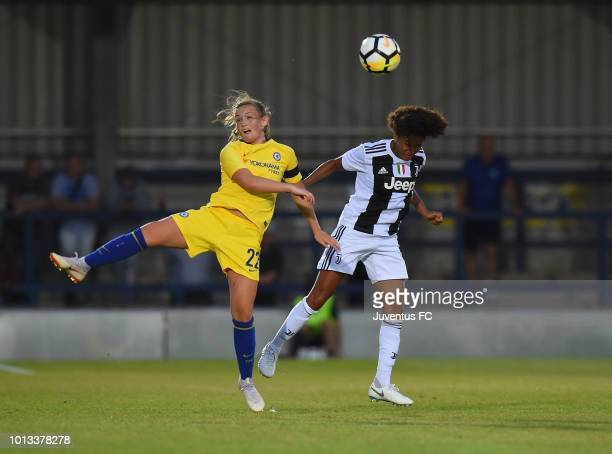 Sara Gama of Juventus Women wins the ball in the air from Erin Cuthbert of Chelsea Ladies during the PreSeason Friendly match between Chelsea Ladies...