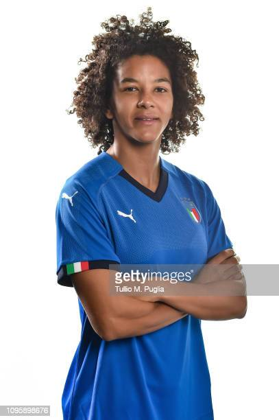 Sara Gama poses during a Italy women portrait session at Centro Tecnico Federale di Coverciano on January 16 2019 in Florence Italy