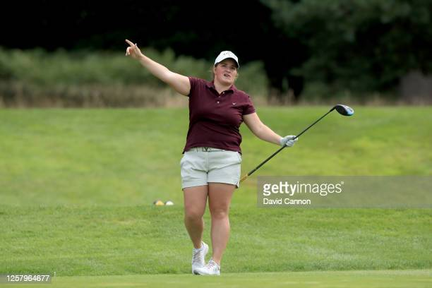 Sara Gee of England plays her tee shot on the second hole during The Rose Ladies Series at Bearwood Lakes on July 23 2020 in Wokingham England