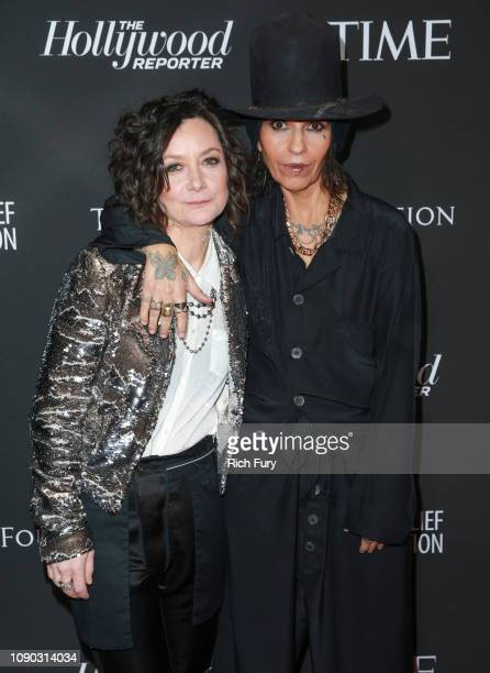 Sara Gilbert and Linda Perry attend the Sean Penn J/P HRO gala benefiting J/P Haitian Relief Organization and a coalition of disaster relief...