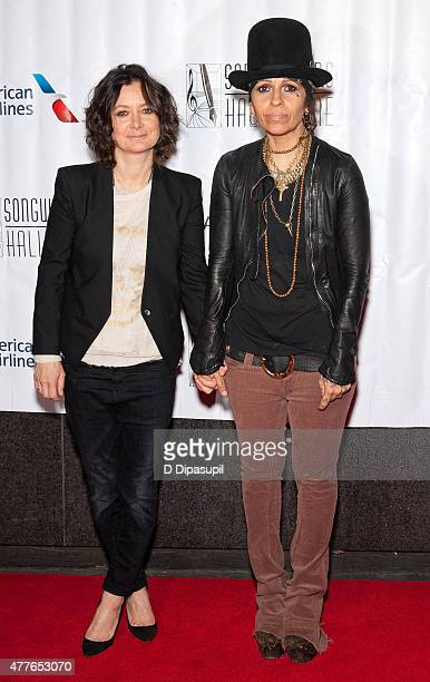 Sara Gilbert and Linda Perry attend the Songwriters Hall of Fame 46th Annual Induction and Awards at the Marriott Marquis Hotel on June 18 2015 in...