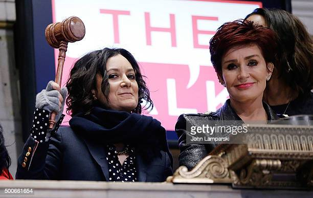 Sara Gilbert and Sharon Osbourne of CBS' The Talk ring the closing bell at the New York Stock Exchange on December 9 2015 in New York City