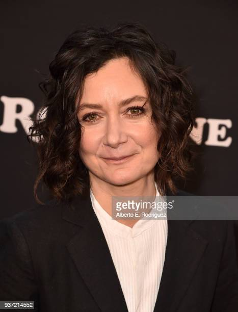 Sara Gilbert attends the premiere of ABC's Roseanne at Walt Disney Studio Lot on March 23 2018 in Burbank California