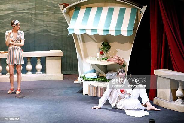 Sara Giraudeau and Julien Boisselier perform in 'Zelda Scott' RunThrough at La Bruyere Theater In Paris at Theatre La Bruyere on September 3 2013 in...