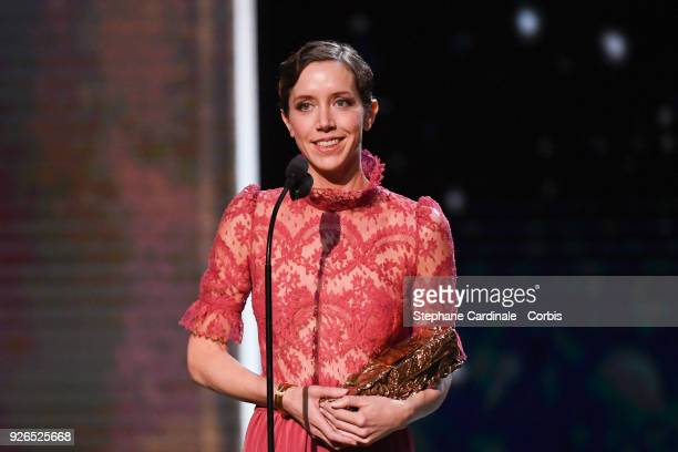 Sara Giraudeau receives the Best Second Role Actress Award for the movie 'Petit Paysan' during the ceremony of the Cesar Film Awards 2018 at Salle...