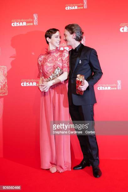 Sara Giraudeau, winner of the award for Best Actress in a Supporting Role for Petit Paysan and Swann Arlaud, winner of the award for Best Actor for...