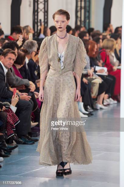 Sara Grace Wallerstedt walks the runway during the Chloe Womenswear Spring/Summer 2020 show as part of Paris Fashion Week on September 26, 2019 in...