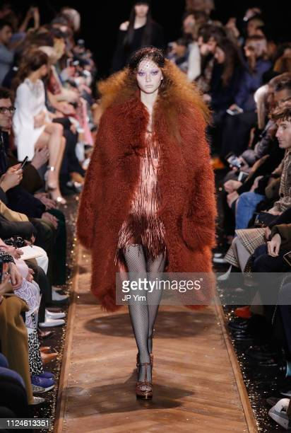 Sara Grace Wallerstedt walks the runway during the Michael Kors Collection Fall 2019 Runway Show at Cipriani Wall Street on February 13, 2019 in New...