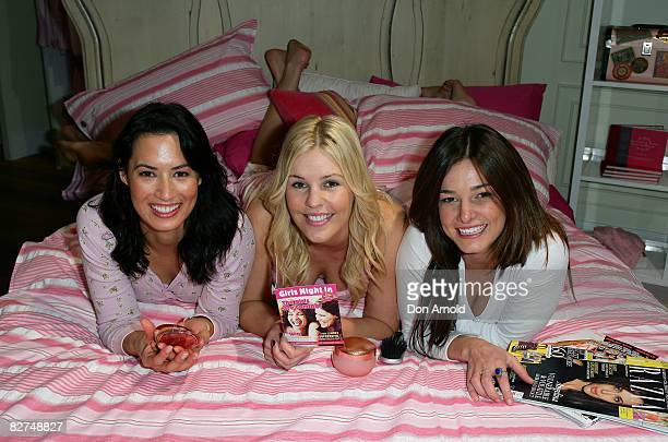 Sara Groen Jaime Wright and KirstyLee Allan pose for the launch of 'Girls Night In' at the Peter Alexander store in Pitt Street Mall on September 10...