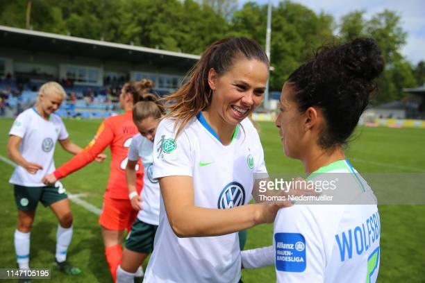 Sara Gunnarsdottir and Claudia Neto are seen after the Allianz Frauen Bundesliga match between TSG Hoffenheim and VfL Wolfsburg at DietmarHoppStadion...