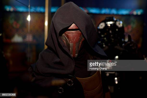 Sara Gurnett of Darth Revan welcomes Star Wars fans at Alamo Drafthouse Cinema in Denver Fans celebrate opening day of the last Jedi on December 14...