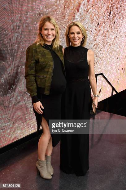 Sara Haines and Amy Robach attend the 50th anniversary celebration of Wilhelmina with cohost Patti Hansen on November 14 2017 in New York City