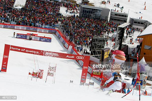 Sara Hector of Sweden competes during the Audi FIS Alpine Ski World Cup Finals Nations Team Event on March 20 2015 in Meribel France