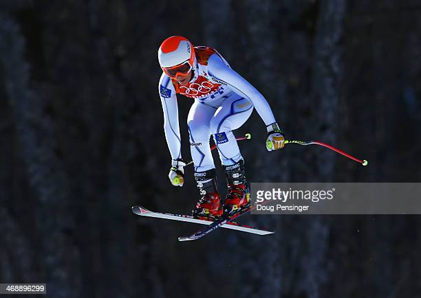 Sara Hector of Sweden skis during the Alpine Skiing Women's Downhill on day 5 of the Sochi 2014 Winter Olympics at Rosa Khutor Alpine Center on...