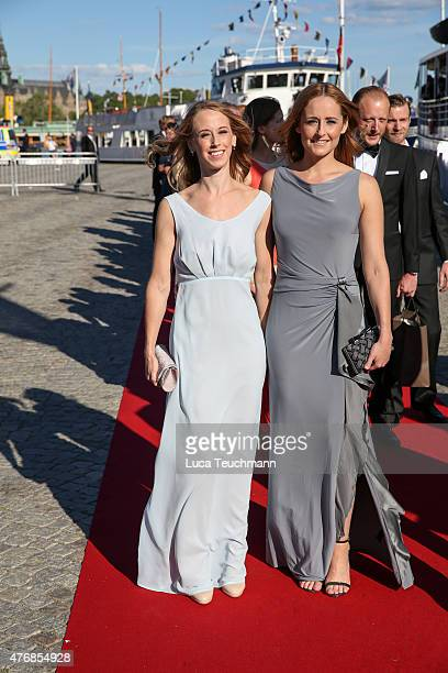 Sara Hellqvist and Lina Hellqvist arrive for the prewedding dinner for Prince Carl Philip of Sweden and Sofia Hellqvist on June 12 2015 in Stockholm...