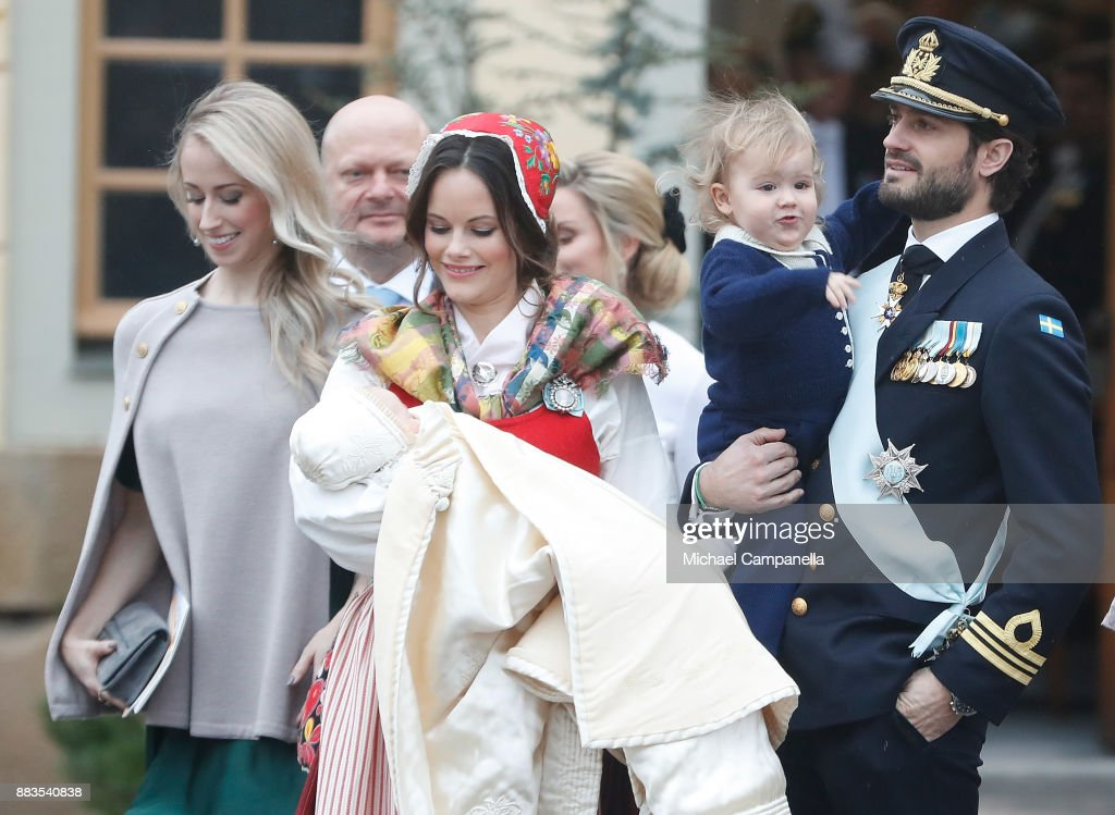 Sara Hellqvist, Thomas de Toledo Sommerlath, Prince Gabriel of Sweden, Duke of Dalarna held by Princess Sofia of Sweden and Prince Carl Philip holding Prince Alexander, Duke of Sodermanland, attends the christening of Prince Gabriel of Sweden at Drottningholm Palace Chapel on December 1, 2017 in Stockholm, Sweden.
