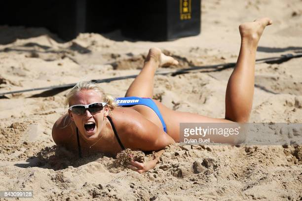 Sara Hughes celebrates after beating Lauren Fendrick and April Ross in the semifinal round at the AVP Championships in Chicago Day 4 on September 3...