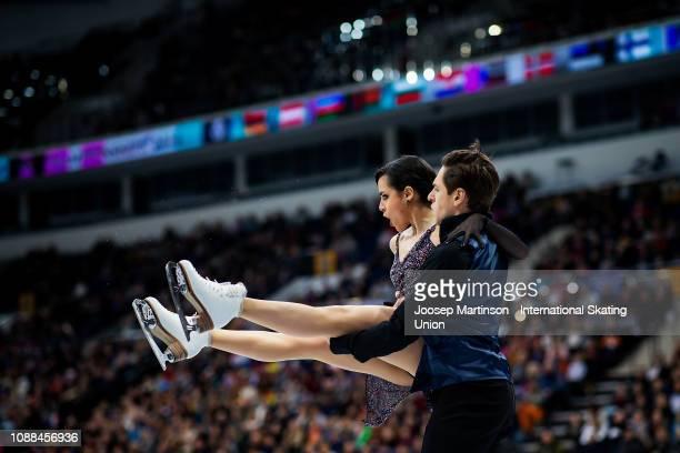 Sara Hurtado and Kirill Khaliavin of Spain compete in the Ice Dance Rhythm Dance during day three of the ISU European Figure Skating Championships at...