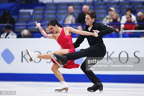 Sara Hurtado and Kirill Khaliavin of Spain compete in the Ice Dance Short Dance during day 2 of the European Figure Skating Championships at Ostravar...