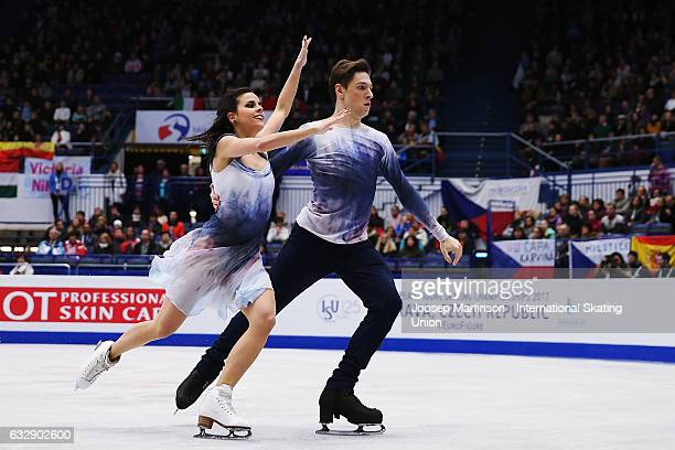 Sara Hurtado and Kirill Khaliavin of Spain compete in the Ice Dance Free Dance during day 4 of the European Figure Skating Championships at Ostravar...