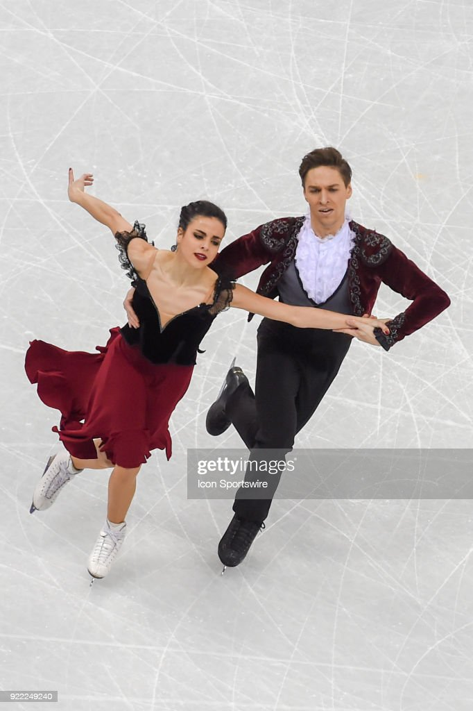 Sara Hurtado and Kirill Khaliavin (ESP) skate in the free dance of the Ice Dancing competition during the 2018 Winter Olympic Games at the Gangneung Ice Arena on February 20, 2018 in PyeongChang, South Korea.