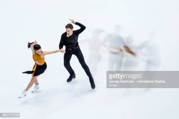 Sara Hurtado and Krill Khaliavin of Spain compete in the Ice Dance Short Dance during day three of the European Figure Skating Championships at...