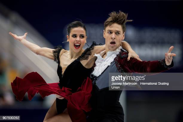 Sara Hurtado and Krill Khaliavin of Spain compete in the Ice Dance Free Dance during day four of the European Figure Skating Championships at...