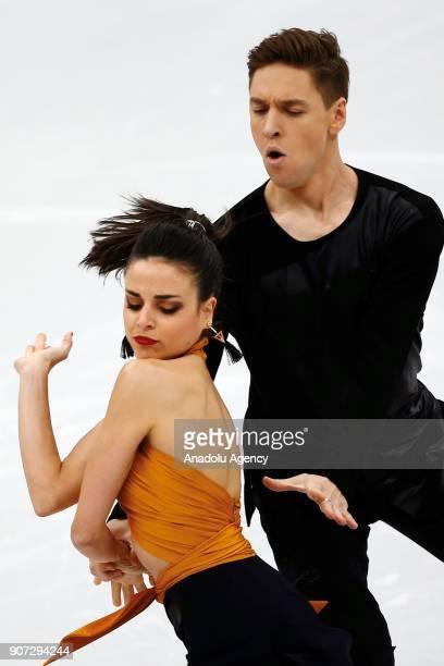 Sara Hurtado and Krill Khaliavin of Spain perform in the Ice Dance category of Short Dance segment skating during the ISU European Figure Skating...