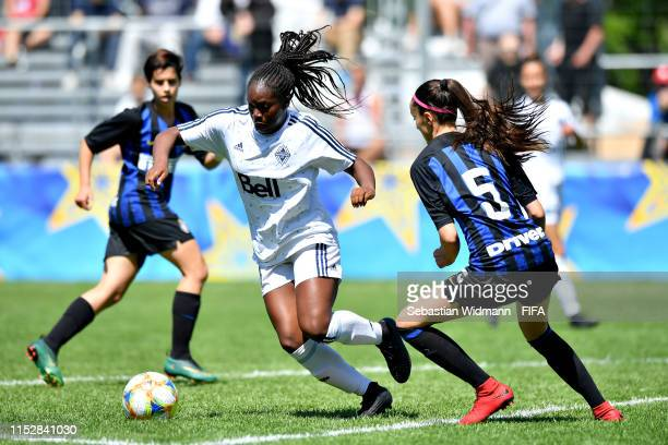 Sara Jennifer Gila of FC Internazionale challenges Oluwateniola Akindoju of Vancouver Whitecaps in the Womens third place playoff match between FC...