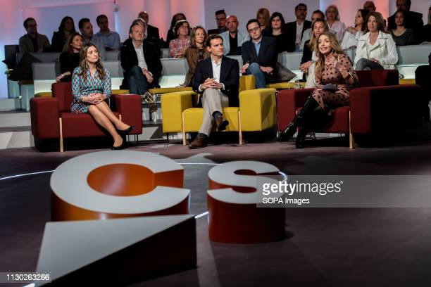 Sara Jimenez Albert Rivera and Patricia Reyes are seen attending the debate on discrimination that exists in Spain