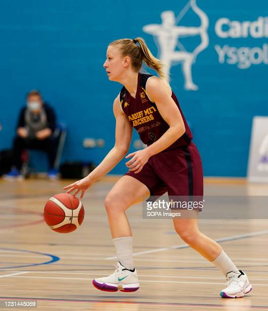 Sara Jorgensen seen in action during the Women's British Basketball League match between WBBL Cardiff Archers and Newcastle Eagles at Cardiff Archers...