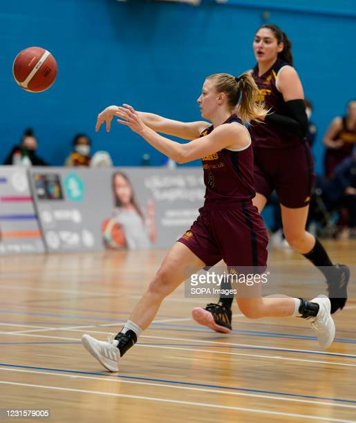Sara Jorgensen seen in action during the Women's British Basketball League match between WBBL Cardiff Archers and Caledonia Pride at Cardiff Archers...