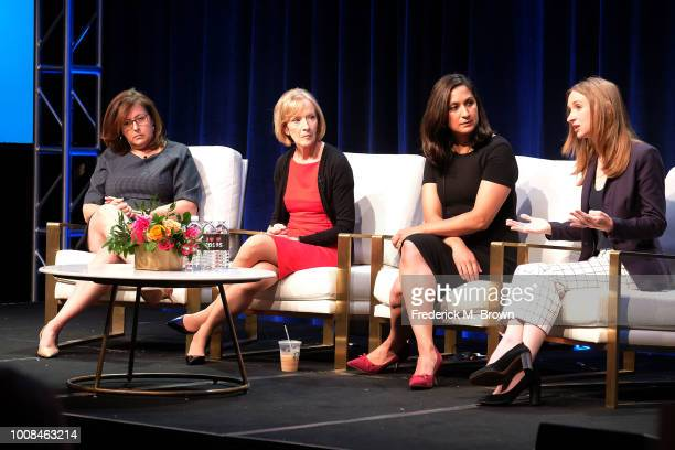Sara Just Judy Woodruff Amna Nawaz and Lisa Desjardins of the television show PBS Newshour speak during the PBS segment of the Summer 2018 Television...