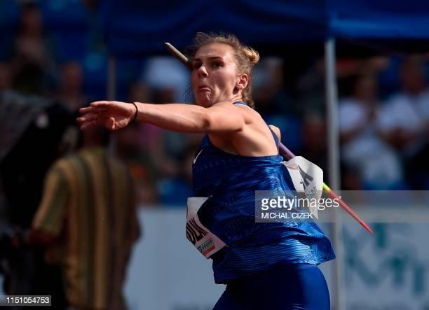 Sara Kolak of Croatia competes during the Women's Javelin Throw at the IAAF Golden Spike 2019 Athletics meeting in Ostrava on June 20, 2019.