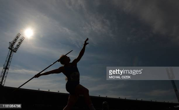 TOPSHOT Sara Kolak of Croatia competes during the Women's Javelin Throw at the IAAF Golden Spike 2019 Athletics meeting in Ostrava on June 20 2019