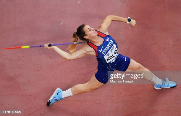 Sara Kolak of Croatia competes in the Women's Javelin qualification during day four of 17th IAAF World Athletics Championships Doha 2019 at Khalifa...