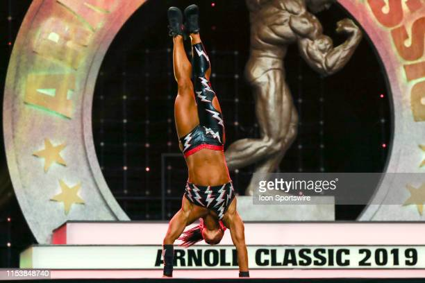 Sara Kovach competes in Fitness International as part of the Arnold Sports Festival on March 1 at the Greater Columbus Convention Center in Columbus...