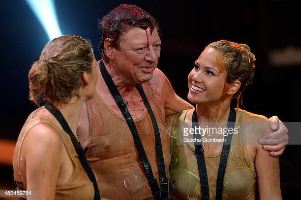 Sara Kulka Walter Freiwald Angelina Heger attend the final of the television show 'Ich bin ein Star lasst mich wieder rein' on August 8 2015 in...