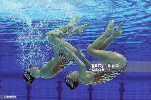 Sara Labrousse and Chloe Willhelm of France compete in the Duet Free routine during the FINA Olympic Games Synchronised Swimming Qualification event...
