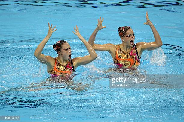 Sara Labrousse and Chloe Willhelm of France compete in the Synchronized Swimming Technical Duets final during Day Three of the 14th FINA World...